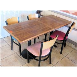 Qty 2 Wooden Tables and 4 Chairs (each table 29 W 33 L 30 H)