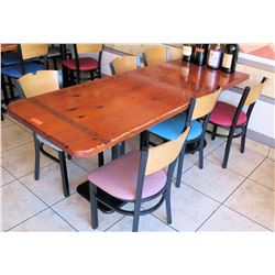 "Qty 2 Wooden Tables and 6 Chairs (small table 29""X30, large table 4'x30"")"