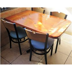 Wooden Table with 4 Chairs, 30 W 48 L 30 H
