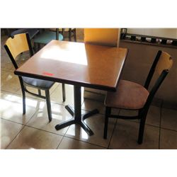 One Table with 2 Chairs, 30 W 33 L 30 H