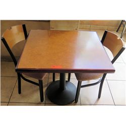 """Table w/ Metal Base & 2 Chairs, 30"""" X 33"""""""