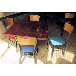 """Wooden Table with 4 Chairs, 36""""W 36""""L 30""""H"""