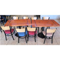 "2 Wooden Tables with 8 Chairs, 30""W 48""L 30""H"