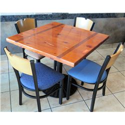 "Wooden Table with 4 Chairs, 36""W 36""L 30""H"