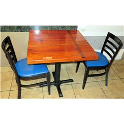 "Wooden Table with 2 Chairs, 29""W 29""L 30""H"