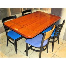 "Wooden Table with 4 Chairs, 30""W 48""L 30""H"