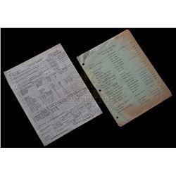 Big Trouble in Little China - Production Used Call Sheet & Crew Contact List - 1095