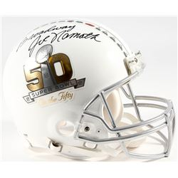 """Joe Namath Signed Super Bowl 50 On The Fifty Full-Size Authentic Pro-Line Helmet Inscribed """"Broadway"""