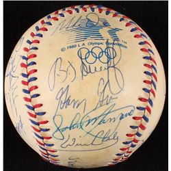 1984 Olympic Baseball Team Signed By (21) with Paul Pacillo, Don August, Bob Caffrey, Rod Dedeaux, W