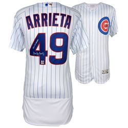 """Jake Arrieta Signed Cubs Authentic Majestic 2016 World Series Jersey Inscribed """"2016 WS Champs"""" (Fan"""