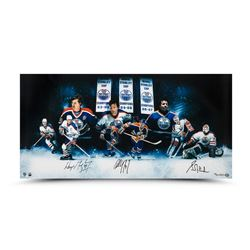 """Wayne Gretzky, Paul Coffey  Grant Fuhr Signed """"Outstanding Oilers"""" 18x36 Limited Edition Photo (UDA"""