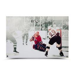 "Wayne Gretzky  Patrick Roy Signed ""1993 Stanley Cup Finals Game 4"" 16x24 Photo (UDA COA)"