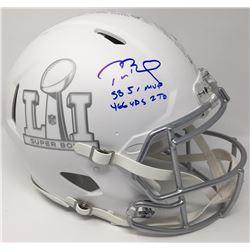 "Tom Brady Signed LE ""Super Bowl 51"" Custom Matte White ICE Full-Size Authentic On-Field Speed Helmet"