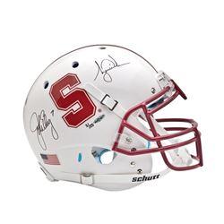 Tiger Woods  John Elway Signed Stanford Cardinal LE Full-Size Helmet (UDA COA)