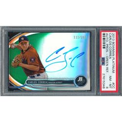 2013 Bowman Platinum Prospect Autographs Green Refractors #CC Carlos Correa #111/399 (PSA 8)