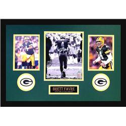 Brett Favre Signed Packers 16x26 Custom Framed Photo Display (Favre COA)