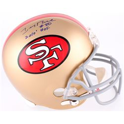 """Jerry Rice Signed 49ers Full Size Authentic On-Field Helmet Inscribed """"HOF 2010"""" (Rice Hologram)"""