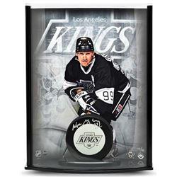 Wayne Gretzky Signed Kings LE 8x11x3 Hockey Puck Curve Display (UDA COA)