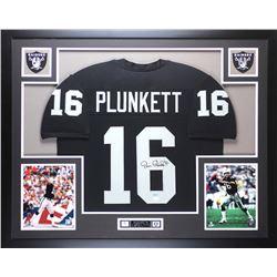 "Jim Plunkett Signed Raiders 35"" x 43"" Custom Framed Jersey (JSA COA)"