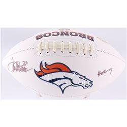"""Terrell Davis Signed Broncos Logo Football Inscribed """"HOF 17"""" (JSA COA)"""