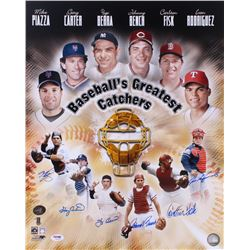 """Baseball's Greatest Catchers"" 16x20 Photo Signed By (6) with Mike Piazza, Gary Carter, Yogi Berra,"