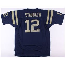 "Roger Staubach Signed Navy Midshipmen Jersey Inscribed ""63 Heisman"" (TriStar COA  Staubach Hologram)"