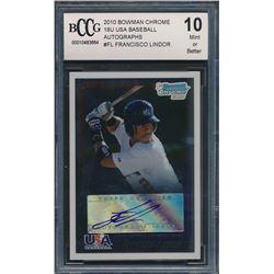 2010 Bowman Chrome 18U USA Baseball Autographs #FL Francisco Lindor  (BCCG 10)
