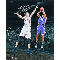 Kobe Bryant  Kristaps Porzingis Signed Lakers vs Knicks LE 16x20 Photo (Panini COA  Steiner COA)