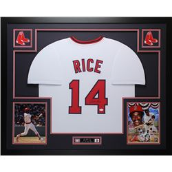 Jim Rice Signed Red Sox 35x43 Custom Framed Jersey (JSA COA)