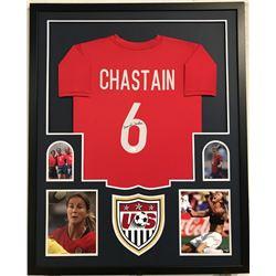 Brandi Chastain Signed Team USA 34x42 Custom Framed Jersey Display (JSA COA)