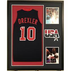 Clyde Drexler Signed Team USA 34x42 Custom Framed Jersey (JSA COA)