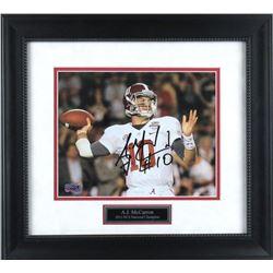 AJ McCarron Signed Alabama Crimson 15x17 Custom Framed Photo Display (Radtke COA)