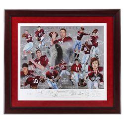 """Alabama Crimson Tide """"Quarterback U"""" 32x36  Custom Framed Print Signed by (14) with Ken Stabler, Bar"""