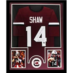 """Connor Shaw Signed South Carolina Gamecocks 34x42 Custom Framed Jersey Inscribed """"17-0 Home Record"""""""