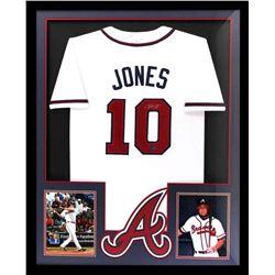 Chipper Jones Signed Braves 34x42 Custom Framed Jersey (Radtke COA)