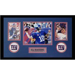 Eli Manning Signed Giants 16x26 Custom Framed Photo Display (Steiner)