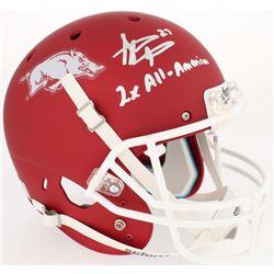 """Steve Atwater Signed Arkansas Razorbacks Custom Matte Red Full-Size Helmet Inscribed """"2x All-America"""