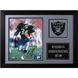 Bo Jackson Signed Raiders 14x18.5 Custom Framed Photo Display (Beckett COA)