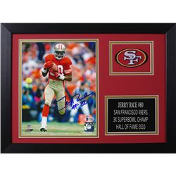 Jerry Rice Signed 49ers 14x18.5 Custom Framed Photo Display (Beckett COA)