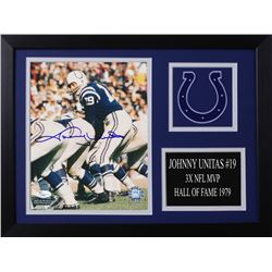 Johnny Unitas Signed Colts 14x18.5 Custom Framed Photo Display (JSA COA)