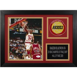 Hakeem Olajuwon Signed Rockets 14x18.5 Custom Framed Photo Display (JSA COA)