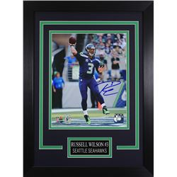 Russell Wilson Signed Seahawks 14x18.5 Custom Framed Photo Display (Wilson COA)