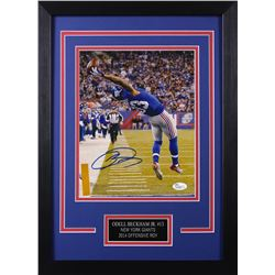 Odell Beckahm Jr. Signed Giants 14x18.5 Custom Framed Photo Display (JSA COA)