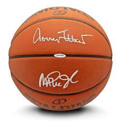 Jerry West  Magic Johnson Signed Spalding Basketball (UDA COA)