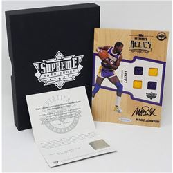 Magic Johnson Signed 2016-17 Upper Deck Supreme Hardcourt NBA Relics Floor With (4) Jersey Swatches