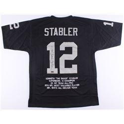 """Ken """"Snake"""" Stabler Signed Raiders Career Highlight Stat Jersey (Radtke COA)"""