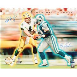 """Brett Favre  Barry Sanders Signed LE """"1997 NFL Co-MVP"""" 16x20 Photo (Favre Hologram  Schwartz COA)"""