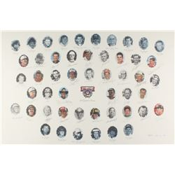 NASCAR 50th Anniversary 50 Greatest Drivers 26x39 LE Lithograph Signed by (34) with Dale Earnhardt S