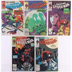 """Lot of (5) 1988-1989 """"The Amazing Spider-Man"""" Marvel Comic Books"""
