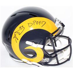 """Aaron Donald Signed Rams Full-Size Speed Helmet Inscribed """"DPOY 17"""" (JSA COA)"""